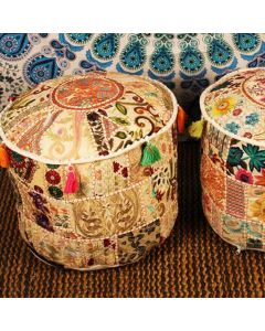SET OF 2 White Indian Pouf Cover