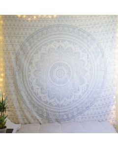 White and Silver Mandala Tapestry Bedspread