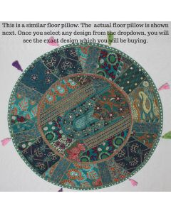 Green Vintage Round Cushion Cover - 32 inches
