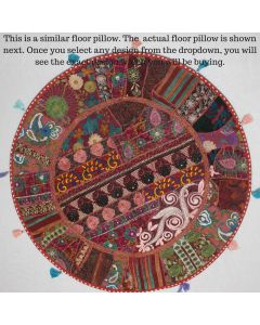 Maroon Vintage Round Cushion Cover - 40 inches