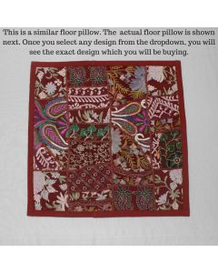 Maroon Vintage Collage Cushion Cover -16 inch x 16 inch