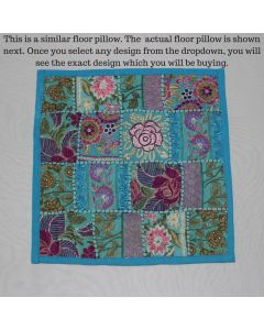 Turquoise Vintage Collage Cushion Cover -16 inch x 16 inch