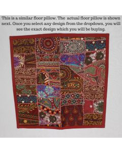 Maroon Collage Cushion Cover -22 inch x 22 inch