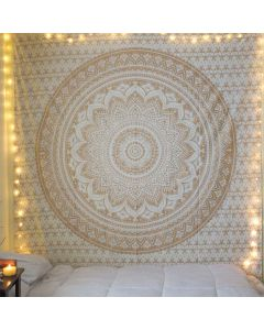 Beryl Gold Large Mandala Tapestry
