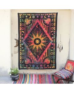 Sun Moon Wall Hanging Tapestry Boho Trippy Beach Blanket Ethnic decor