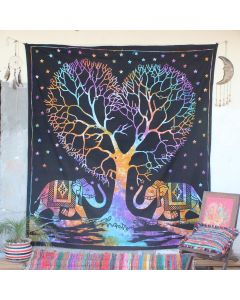 Black I Love Elephant Hippie Wall Tapestry Queen Size