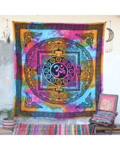 Pink Chakra Aum Cotton Wall Hanging Tapestry Queen Size