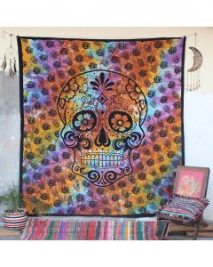 Turquoise Skull Boho Wall Hanging Tapestry Queen Size