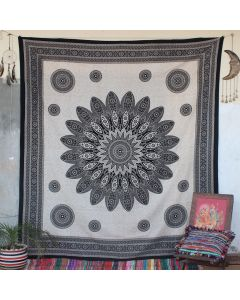Beige Ethnical Mandala Cotton Wall Hanging Tapestry Queen Size
