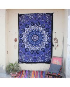 Purple Star Elephant Hippie Wall Tapestry Twin Size