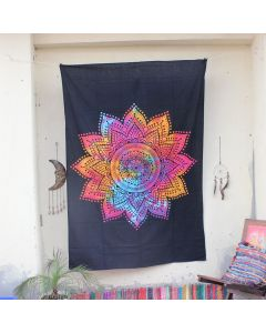 Pink Efflorescence Flower Mandala Tapestry Wall Hanging Twin Size