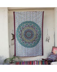 Maroon Cultural Elephant Mandala Hippie Wall Tapestry Twin Size