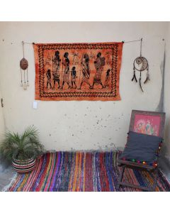Orange Tribal Walking Tapestry Wall Hanging Poster 30 in x 40 in