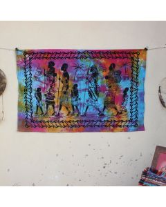 Pink Tribal Walking Cotton Wall Hanging Poster 30 in x 40 in