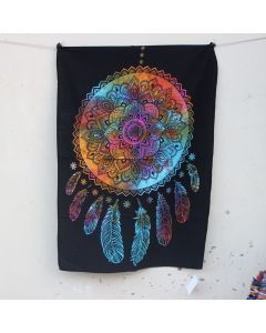 Turquoise Good dreams dreamcatcher Cotton Wall Hanging Poster 30 in x 40 in