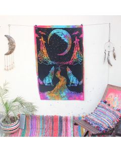 Black Wolf The Moon Tapestry Wall Hanging Poster 30 in x 40 in