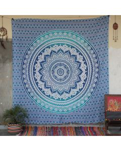 Blue Floret Ombre Flower Indian Wall Tapestry Queen Size