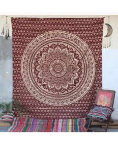 Maroon Floret Ombre Flower Indian Wall Tapestry Queen Size