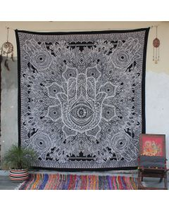 Off White sesha Hamsa Hand Tapestry Wall Hanging Queen Size