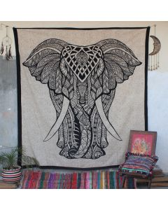 Beige elephas Big Elephant Boho Wall Hanging Tapestry Queen Size