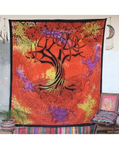 Orange Spirit of Tree Cotton Wall Hanging Tapestry Queen Size