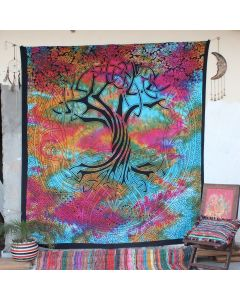 Turquoise Spirit of Tree Boho Wall Hanging Tapestry Queen Size