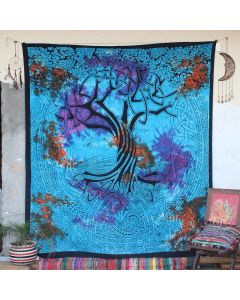 Turquoise Spirit of Tree Cotton Wall Hanging Tapestry Queen Size