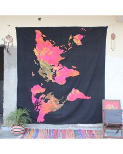Black Cosmos World Map Cotton Wall Hanging Tapestry Queen Size