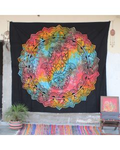 Black Mandala Hamsa Hand Cotton Wall Hanging Tapestry Queen Size
