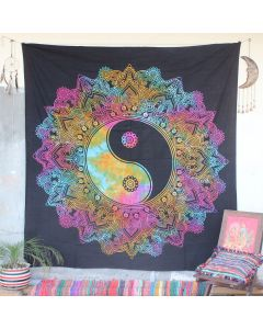 Black Mandala Yin Yang Hippie Wall Tapestry Queen Size