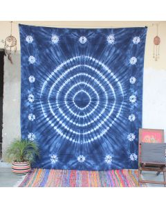 Blue Ring Shibori Tie dye Wall Hanging Tapestry Queen Size