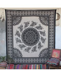 Beige Enchantress Mandala Hippie Wall Tapestry Queen Size