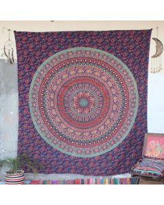 Blue Scripture Mandala Cotton Wall Hanging Tapestry Queen Size