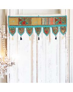 Turquoise Vintage Collage Door Hanging