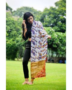 Purple striped Kantha scarf