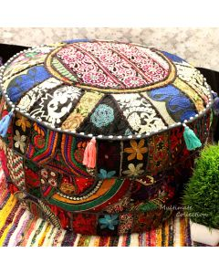 INDIAN POUF OTTOMAN BLACK LARGE
