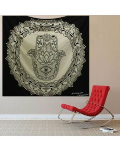 Black and White Hamsa Large tapestry