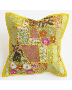 Lemon Yellow Vintage Collage Cushion Cover 16 inch x 16 inch