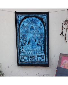 Turquoise Life of Buddha Boho Wall Hanging Poster 30 in x 40 in