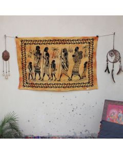 Yellow Tribal Walking Wall Hanging Poster 30 in x 40 in