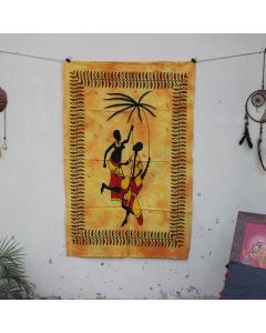 Yellow Tribal African Couple Indian Wall Poster 30 in x 40 in