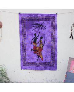 Purple Tribal African Couple Hippie Wall Poster 30 in x 40 in