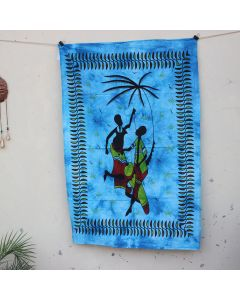 Turquoise Tribal African Couple Tapestry Wall Hanging Poster 30 in x 40 in