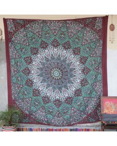 Maroon Star Elephant Wall Hanging Tapestry Queen Size