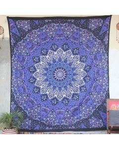 Purple Star Elephant Cotton Wall Hanging Tapestry Queen Size