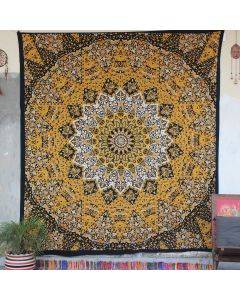 Yellow Star Elephant Cotton Wall Hanging Tapestry Queen Size