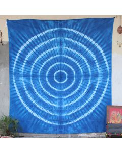 Blue Shibori Rhombus Tie Dye Wall Hanging Tapestry Queen Size