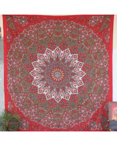 Red Star Elephant Boho Wall Hanging Tapestry Queen Size