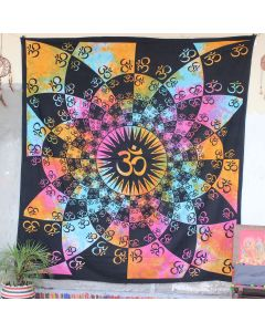 Pink Lotus Aum Tapestry Wall Hanging Queen Size