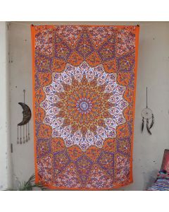 Orange Star Elephant Wall Hanging Tapestry Twin Size